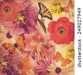 Stock photo textured old paper blurry background with beautiful flowers and butterflies in magic light flower 249027949