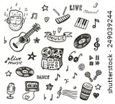 hand drawn music icons set | Shutterstock .eps vector #249039244