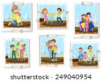 set of family photos on a white ... | Shutterstock .eps vector #249040954