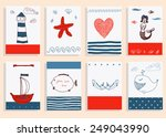 greeting card set cute retro... | Shutterstock .eps vector #249043990