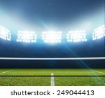 a tennis court in an arena with ... | Shutterstock . vector #249044413