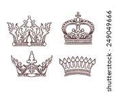 hand drawn heraldic crown set   Shutterstock .eps vector #249049666