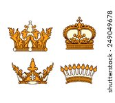 hand drawn heraldic crown set | Shutterstock .eps vector #249049678