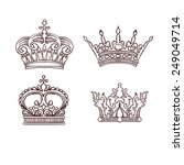 hand drawn heraldic crown set | Shutterstock .eps vector #249049714