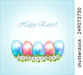 easter eggs with flower on blue ... | Shutterstock .eps vector #249073750