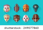 african mask icons. flat design ... | Shutterstock .eps vector #249077860