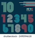 retro stripes funky numbers set ... | Shutterstock .eps vector #249094618