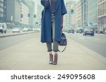 detail of a stylish young woman ... | Shutterstock . vector #249095608