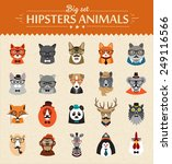 cute fashion hipster  animals ... | Shutterstock .eps vector #249116566