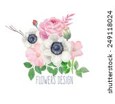 Watercolor Flowers Design Labe...