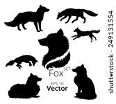 fox set of silhouettes  vector. | Shutterstock .eps vector #249131554