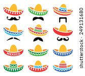 mexican sombrero hat with... | Shutterstock .eps vector #249131680