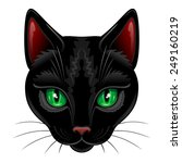 Stock vector black cat portrait on white 249160219