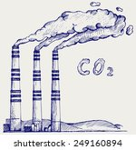 emission from coal power plant. ... | Shutterstock .eps vector #249160894