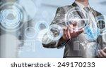 business man in blue grey suit... | Shutterstock . vector #249170233
