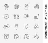 gift flat contour shop icon set ... | Shutterstock .eps vector #249174538