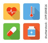 flat healthcare icons with long ...