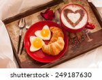 breakfast in bed   eggs and... | Shutterstock . vector #249187630
