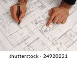 drawing architect hand on the... | Shutterstock . vector #24920221
