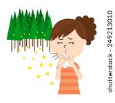 a young woman sneezing  allergy ... | Shutterstock .eps vector #249213010