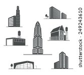 vector icons of buildings | Shutterstock .eps vector #249243610