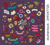 set of love doodle icons vector ... | Shutterstock .eps vector #249247720