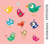 vector cute birds | Shutterstock .eps vector #249253156