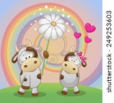 Valentine Card With Two Cows On ...