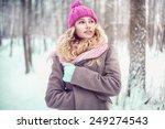 pretty blonde girl walking in a ...   Shutterstock . vector #249274543