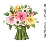 Vector Bouquet Of Pink  Yellow...