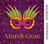 carnival mardi gras pink mask....   Shutterstock .eps vector #249287539