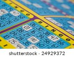 Close shot of a bingo card - shallow depth of field. - stock photo