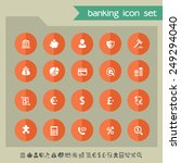banking icons on bright orange... | Shutterstock .eps vector #249294040