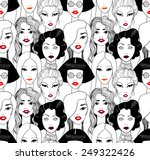 crowd of women with red lips... | Shutterstock .eps vector #249322426