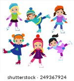 funny girls in winter clothes... | Shutterstock .eps vector #249367924