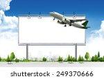 airplane with blank billboard ...   Shutterstock . vector #249370666