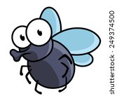cute little cartoon fly insect...