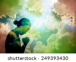 silhouette of young woman... | Shutterstock . vector #249393430