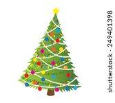 cartoon christmas tree flat...