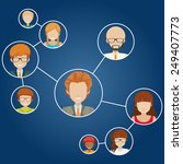 networks of people on a blue... | Shutterstock .eps vector #249407773