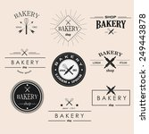retro bakery logotypes set.... | Shutterstock .eps vector #249443878