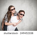 smiling young man carrying... | Shutterstock . vector #249452338