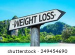 Small photo of Weight Loss sign with a beach on background