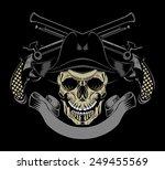 illustration of pirate skull... | Shutterstock . vector #249455569