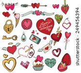 valentine's day hearts icons... | Shutterstock .eps vector #249456394