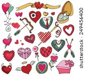 valentine's day hearts icons... | Shutterstock .eps vector #249456400
