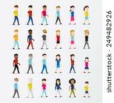 men and women people walking... | Shutterstock .eps vector #249482926