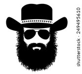 bearded man in a hat and... | Shutterstock .eps vector #249495610