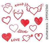vector set of hand drawn hearts.... | Shutterstock .eps vector #249542560