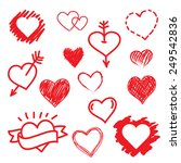 vector set of hand drawn hearts.... | Shutterstock .eps vector #249542836